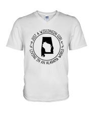 WISCONSIN GIRL LIVING IN ALABAMA WORLD V-Neck T-Shirt thumbnail