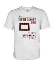 SOUTH DAKOTA GIRL LIVING IN WYOMING V-Neck T-Shirt thumbnail