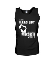 JUST A TEXAS GUY LIVING IN WISCONSIN WORLD Unisex Tank thumbnail