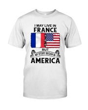 LIVE IN FRANCE BEGAN IN AMERICA ROOT WOMEN Classic T-Shirt tile