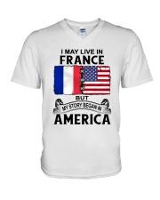 LIVE IN FRANCE BEGAN IN AMERICA ROOT WOMEN V-Neck T-Shirt thumbnail