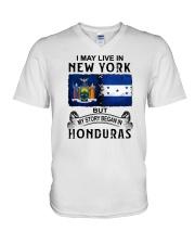 LIVE IN NEW YORK BEGAN IN HONDURAS V-Neck T-Shirt thumbnail