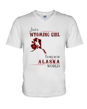 WYOMING GIRL LIVING IN ALASKA WORLD V-Neck T-Shirt thumbnail