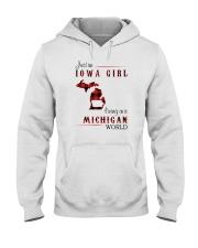 IOWA GIRL LIVING IN MICHIGAN WORLD Hooded Sweatshirt thumbnail