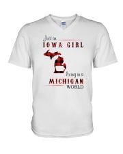 IOWA GIRL LIVING IN MICHIGAN WORLD V-Neck T-Shirt thumbnail