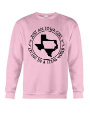 JUST AN IOWA GIRL LIVING IN TEXAS WORLD Crewneck Sweatshirt thumbnail