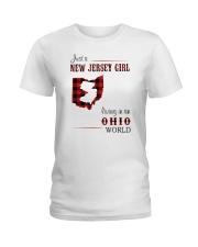 JERSEY GIRL LIVING IN OHIO WORLD Ladies T-Shirt thumbnail