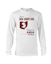 JERSEY GIRL LIVING IN OHIO WORLD Long Sleeve Tee thumbnail