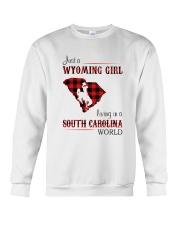 WYOMING GIRL LIVING IN SOUTH CAROLINA WORLD Crewneck Sweatshirt thumbnail