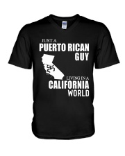 JUST A PUERTO RICAN GUY LIVING IN CA WORLD V-Neck T-Shirt thumbnail