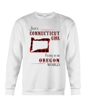 CONNECTICUT GIRL LIVING IN OREGON WORLD Crewneck Sweatshirt thumbnail