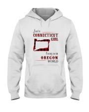 CONNECTICUT GIRL LIVING IN OREGON WORLD Hooded Sweatshirt thumbnail