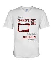 CONNECTICUT GIRL LIVING IN OREGON WORLD V-Neck T-Shirt thumbnail