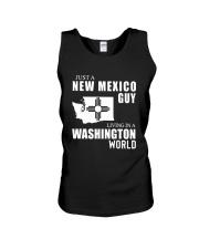 JUST A NEW MEXICO GUY LIVING IN WASHINGTON WORLD Unisex Tank thumbnail
