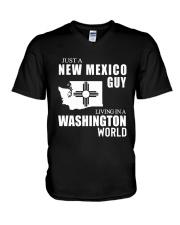 JUST A NEW MEXICO GUY LIVING IN WASHINGTON WORLD V-Neck T-Shirt thumbnail