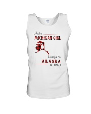 MICHIGAN GIRL LIVING IN ALASKA WORLD Unisex Tank thumbnail