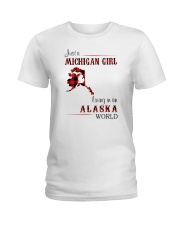 MICHIGAN GIRL LIVING IN ALASKA WORLD Ladies T-Shirt thumbnail