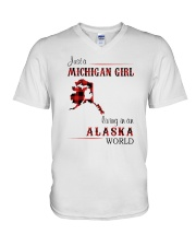 MICHIGAN GIRL LIVING IN ALASKA WORLD V-Neck T-Shirt thumbnail