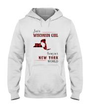 WISCONSIN GIRL LIVING IN NEW YORK WORLD Hooded Sweatshirt thumbnail