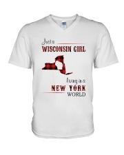 WISCONSIN GIRL LIVING IN NEW YORK WORLD V-Neck T-Shirt thumbnail