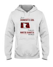 MINNESOTA GIRL LIVING IN NORTH DAKOTA WORLD Hooded Sweatshirt thumbnail