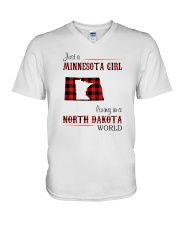 MINNESOTA GIRL LIVING IN NORTH DAKOTA WORLD V-Neck T-Shirt thumbnail