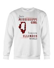 MISSISSIPPI GIRL LIVING IN ILLINOIS WORLD Crewneck Sweatshirt thumbnail