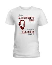 MISSISSIPPI GIRL LIVING IN ILLINOIS WORLD Ladies T-Shirt thumbnail