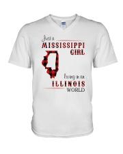 MISSISSIPPI GIRL LIVING IN ILLINOIS WORLD V-Neck T-Shirt thumbnail