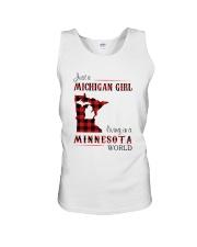 MICHIGAN GIRL LIVING IN MINNESOTA WORLD Unisex Tank thumbnail