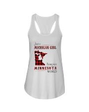 MICHIGAN GIRL LIVING IN MINNESOTA WORLD Ladies Flowy Tank thumbnail