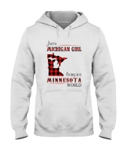MICHIGAN GIRL LIVING IN MINNESOTA WORLD Hooded Sweatshirt thumbnail