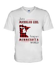 MICHIGAN GIRL LIVING IN MINNESOTA WORLD V-Neck T-Shirt thumbnail