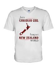 CANADIAN GIRL LIVING IN NEW ZEALAND WORLD V-Neck T-Shirt thumbnail