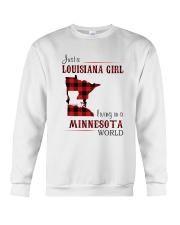 LOUISIANA GIRL LIVING IN MINNESOTA WORLD Crewneck Sweatshirt thumbnail