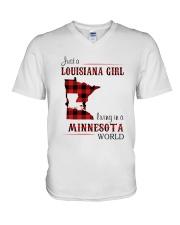 LOUISIANA GIRL LIVING IN MINNESOTA WORLD V-Neck T-Shirt thumbnail