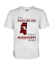 MARYLAND GIRL LIVING IN MISSISSIPPI WORLD V-Neck T-Shirt thumbnail
