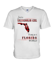 SALVADORAN GIRL LIVING IN FLORIDA WORLD V-Neck T-Shirt thumbnail