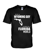 JUST A WYOMING GUY LIVING IN FLORIDA WORLD V-Neck T-Shirt thumbnail