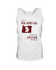 JERSEY GIRL LIVING IN OREGON WORLD Unisex Tank thumbnail
