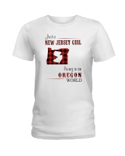 JERSEY GIRL LIVING IN OREGON WORLD Ladies T-Shirt thumbnail