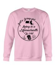 JUST A JERSEY GIRL LIVING IN A MASSACHUSETTS WORLD Crewneck Sweatshirt thumbnail