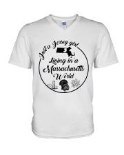 JUST A JERSEY GIRL LIVING IN A MASSACHUSETTS WORLD V-Neck T-Shirt thumbnail