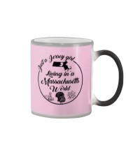 JUST A JERSEY GIRL LIVING IN A MASSACHUSETTS WORLD Color Changing Mug thumbnail