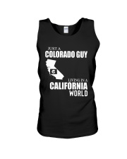 JUST A COLORADO GUY LIVING IN CALIFORNIA WORLD Unisex Tank thumbnail
