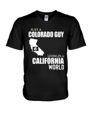 JUST A COLORADO GUY LIVING IN CALIFORNIA WORLD V-Neck T-Shirt thumbnail