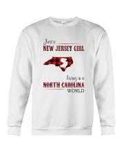 JERSEY GIRL LIVING IN NORTH CAROLINA WORLD Crewneck Sweatshirt thumbnail