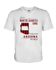 NORTH DAKOTA GIRL LIVING IN ARIZONA WORLD V-Neck T-Shirt thumbnail
