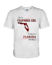 CALIFORNIA GIRL LIVING IN FLORIDA WORLD V-Neck T-Shirt thumbnail