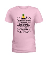 SASKATCHEWAN WOMAN A MOUTH I CAN'T CONTROL Ladies T-Shirt front
